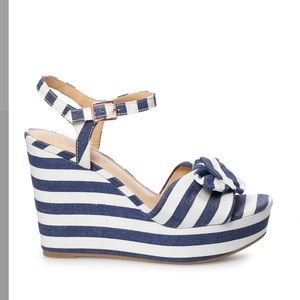 Lauren Conrad navy stripe wedge sandals